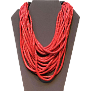 "Vintage Gerda Lynggaard ""Monies"" Red Multi Strand Necklace"