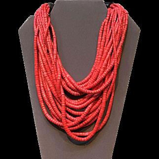 """Vintage Gerda Lynggaard """"Monies"""" Red Multi Strand Necklace"""