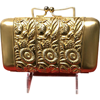 Vintage Leiber Gold Plated Metal Minaudiere with Repousse Design
