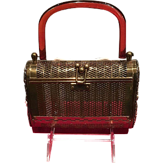 """Vintage Dorset Rex Metal Handbag with """"Jeweled"""" Sides"""