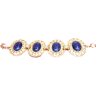Vintage Grosse Filigree Gold Tone Bracelet with Huge Lapiz Lazuli Embellishments
