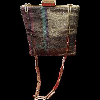 Vintage Pierre Cardin Steel Beaded Handbag with Geometric Design