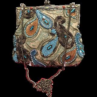 "Vintage Christiana ""Peacock"" Handbag with Beading and Enameled Frame"