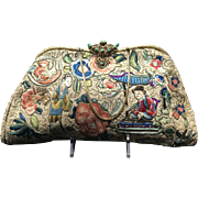 Vintage Asian/Oriental Embroidered Purse with Ornate Jeweled Frame