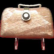 Vintage Pink MOP Mid Century Plastic Handbag