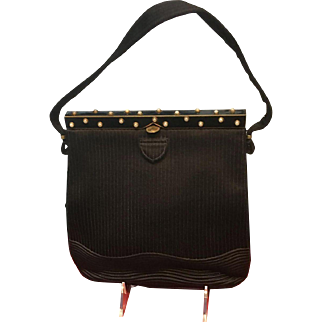 Vintage French Silk Handbag with Enameling and Faux Pearls