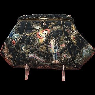 VIntage Asian Silk Stitch Embroidered Purse with Metallic Thread