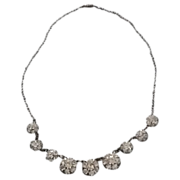 Dazzling Vintage Rhinestone Flower Necklace