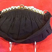 VIntage Evening Purse with Rhinestone Frame