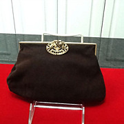 VIntage Suede Evening Purse With Marascites