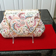 Vintage Josef Purse with Tambour Embroidery and MOP frame