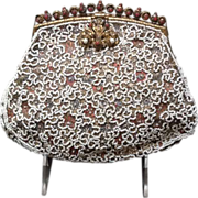 Vintage French Beaded Brocade Purse with Unusual Frame