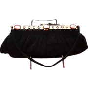 Vintage Hand Made French Beaded Evening Purse with Jeweled Frame