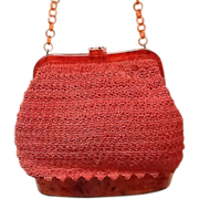 Vintage Funky Crochet Purse with Faux Lucite