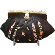 Vintage French Evening Purse Tambour Embroidered with Beaded Frame