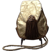 VIntage Rosenfeld Leather Evening Purse with Jewels and  Tassel