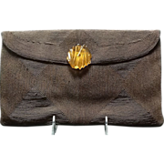 Vintage 1940's Corde Clutch with Applejuice  Bakelite Closure