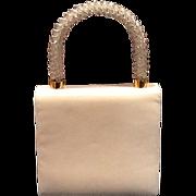 Vintage Koret White Leather Purse with Jeweled Handle