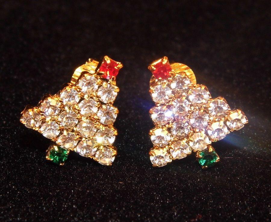 Sparkly Festive Rhinestone Christmas Tree Clip Earrings