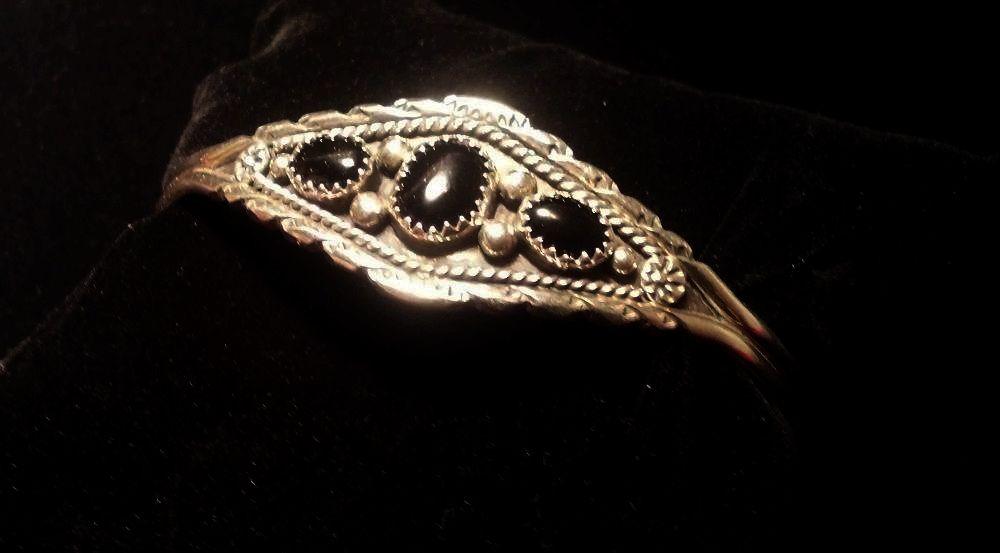 Handmade Classic Native American Sterling Silver & Onyx Cuff Bracelet