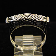 Vintage Sterling Silver Raised Band with Geometric Texturing size 9.25