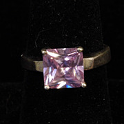Square Purple Faceted CZ Sterling Silver Ring size 8.25