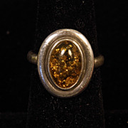 Vintage Amber Sterling Silver Ring size 6.25