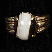 Sterling Silver Brown and White Agate Ring size 7