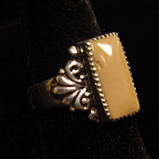 Vintage Large Tan Agate Rectangular Cabochon Ring size 7.5