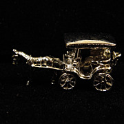 Vintage Sterling Silver Moving Charm - Horse Drawn Carriage