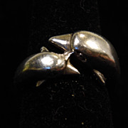 1970's Vintage Sterling Silver Mom and Baby Dolphin Ring size 7