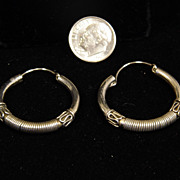 Vintage Large Sterling Silver Ethnic Hoop Earrings