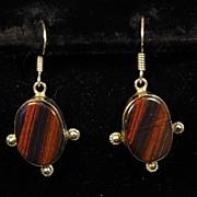Vintage Red Striped Hematite Sterling Silver Dangle Earrings