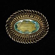 Vintage Sterling Silver Oval Basket Set Sky Blue Pin or Pendant