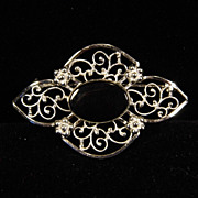 Vintage Sterling Silver Filigree and Onyx Brooch