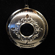 Vintage Large Sterling Silver Round Engraved Locket on 24 inch Sterling Chain
