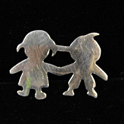 Vintage Sterling Silver Silhouette of Boy and Girl Brooch