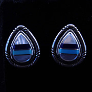 Native American Style Sterling Silver Inlaid Mother of Pearl Onyx and Turquoise Post Earrings