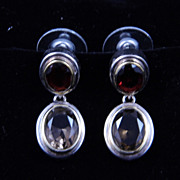 Sterling Silver Articulated Garnet and Smoky Quartz Post Earrings