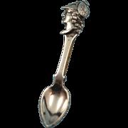 Vintage Sterling Silver Spoon Brooch with Spartan Warrior Head