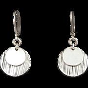 Sterling Silver Double Disk Leverback Earrings