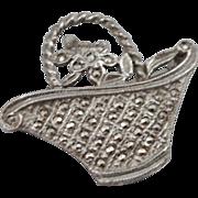 Early Unmarked Silver Marcasite Flower Backet Brooch