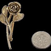 Vintage Avon Sterling Silver Gold Washed Rose Brooch