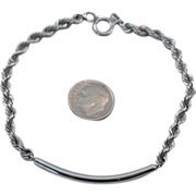 Men's Sterling Silver Heavy Rope 9 inch Bracelet with Tube Front