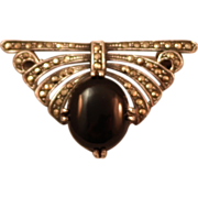 Art Deco Style Onyx and Marcasite Sterling Silver Brooch