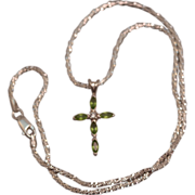 Sterling Silver Avon Peridot Cross Pendant on Fancy Twisted 16 inch Silver Chain Necklace