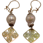 14K Yellow Gold and Irregular Shaped Cultured Pearl Dangle Earrings