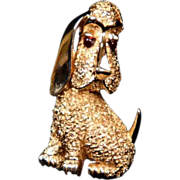 Trifari Gold Tone Faux Ruby Eye Dog Brooch
