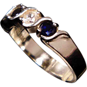 Faux Diamond and Sapphire Sterling Silver Anniversary Band size 8.25