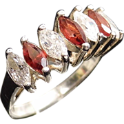 Marquis Garnet and Cubic Zirconia Band Ring size 9.5